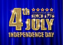 4th of July independence Day banner. 4th of July independence Day United States of America. Gold letters on a background of a blue curtain. Vector illustration stock illustration