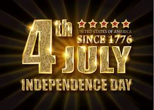 4th of July independence Day banner. 4th of July independence Day United States of America. Gold letters on a background of a gold curtain. Vector illustration stock illustration
