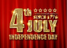 4th of July independence Day banner. 4th of July independence Day United States of America. Gold letters on a background of a red curtain. Vector illustration vector illustration