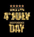 4th of July independence Day banner. 4th of July independence Day United States of America. Gold letters on black background . Vector illustration vector illustration