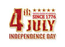 4th of July independence Day banner. 4th of July independence Day United States of America. Gold letters on white background . Vector illustration vector illustration