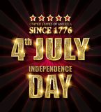 4th of July independence Day banner. 4th of July independence Day United States of America. Gold letters on a background of a red curtain. Vector illustration stock illustration