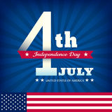 4th of july Independence day on blue burst background. With american flag Royalty Free Illustration