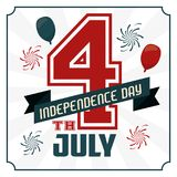 4th july independence day card with american flag colors. Vector illustration Royalty Free Stock Photo
