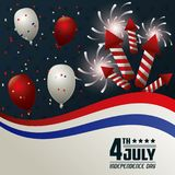4th july independence day card balloons fireworks confetti party national. Vector illustration Stock Photo