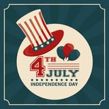 4th july independence day card hat balloons decorative patriotism design. Vector illustration Royalty Free Stock Photo
