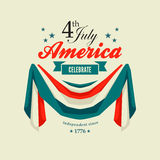4th July Independence Day card. With patriotic flag swag banting Royalty Free Stock Images