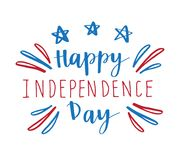 Fourth of July independence day. 4th of July independence day card, poster or banner design. Fireworks and lettering text in national american colors vector illustration