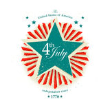 4th July Independence Day card. With the star Royalty Free Stock Photo