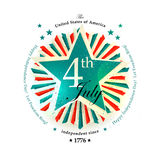 4th July Independence Day card. With the star Stock Images