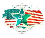 4th July Independence Day card. With the star in vintage colors royalty free illustration