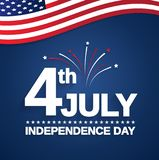 4th of July. Independence Day card with USA flag. Vector illustration Royalty Free Stock Image