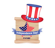 4th of July - Independence Day celebration background with hat, star, American flag.  stock illustration