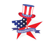 4th of July - Independence Day celebration background with hat, star, American flag.  royalty free illustration