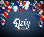 4th of July - Independence day celebration background with party balloons and place for your text. 4th of July - Independence day celebration background with Royalty Free Stock Photos