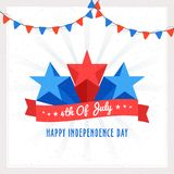 4th of July, Independence Day celebration concept with 3D Stars. On rays background stock illustration
