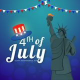 4th of July, Independence Day celebration concept with statue of. Liberty, hat on shiny blue background vector illustration