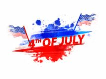 4th of July, Independence Day celebration concept with waving fl. Ag on halftone background. Colorful grungy background Stock Image