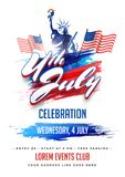 4th of July, Independence Day celebration flyer, poster, banner. Design with Statue of Liberty, and waving flags on white background stock illustration