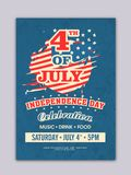 4th of July, Independence Day celebrations Flyer Design. 4th of July, Independence Day celebrations Stock Image