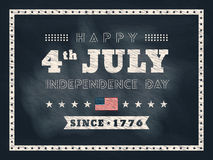 4th of July Independence day chalkboard background. For card or poster Royalty Free Stock Image