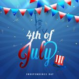 4th of July, Independence Day concept with Statue of Liberty, Ha. T and Bunting Flags on Blue Rays Background Stock Photos
