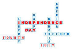 4th July Independence Day crossword in minimal style. 4th July theme for the celebration of Independence Day on July 4th. Vector stock illustration