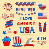 American Independence Day elements set. 4th of July, Independence Day elements in American Flag colors Stock Images