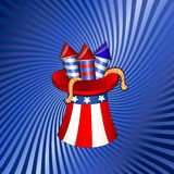 4th July Independence Day Fireworks. Creative Design Art of Cartoon Festive Fireworks in Uncle Sam Hat on 4th of July Vector Background royalty free illustration