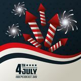 4th july independence day fireworks festive celebration national design. Vector illustration Royalty Free Stock Photo