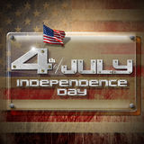 4th of July - Independence Day. Glass or plexiglass plaque on a wall with US flags and phrase: 4th of July - Independence Day vector illustration