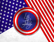 4th of July Independence Day greeting card , banner or invitation template. Round button roe web with patriotic colors. Background and lettering. Vector vector illustration