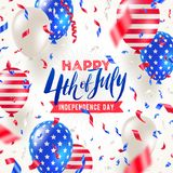 4th of July, Independence day - greeting card design. USA patriotic colors balloons and confetti. Vector illustration Royalty Free Stock Images