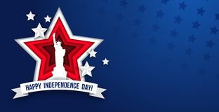4th of july Independence day greeting card with paper cut effect. Paper cut red stars, ribbon and Liberty statue on blue background. Vector illustration royalty free illustration