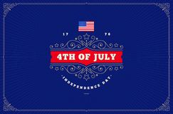 4th of July, Independence day - greeting design with flourishes ornamental frames. Vector illustration Royalty Free Stock Photo