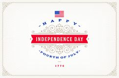 4th of July, Independence day - greeting design with flourishes ornamental frames. Vector illustration Royalty Free Stock Photos