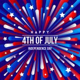 4th of July, Independence day - greeting design with USA patriotic colors firework burst rays. Vector illustration Royalty Free Stock Images