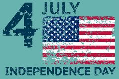 4th July Independence day. Grunge american flag. Patriotic vintage design template. Vector. Illustrationn Stock Photo
