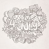 4th July Independence Day hand lettering and. Doodles elements background. Vector illustration Royalty Free Stock Image