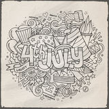 4th July Independence Day hand lettering and. Doodles elements background. Vector illustration Royalty Free Stock Photos