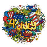 4th July Independence Day hand lettering and. Doodles elements background. Vector illustration royalty free illustration