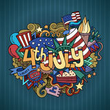 4th July Independence Day. Hand lettering and doodles elements background. Vector illustration Stock Image