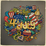 4th July Independence Day. Hand lettering and doodles elements background. Vector illustration Stock Images