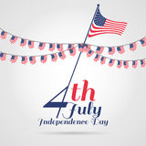 4th of July, independence day . Happy independence day with Bunt. Ing Flag Stock Photo
