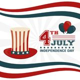 4th july independence day hat balloons decoration. Vector illustration Royalty Free Stock Photo