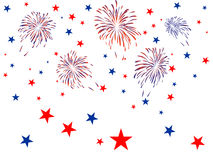 4th july independence day. Illustration of blue and red fireworks and stars Stock Photos