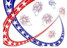 4th july independence day. Illustration of blue and red stars and stripes on a fireworks background Stock Images