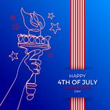 4th of July, Independence day illustration. Line art hand of Statue of liberty with flaming torch and greeting type desig. 4th of July, Independence day - Vector vector illustration