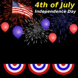 4th of July. Independence Day image with red, white, and blue bunting, American flag, lettering, and firework explosions Vector Illustration
