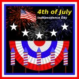 4th of July. Independence Day image with red, white, and blue bunting, American flag lettering, stars, rockets, and firework explosions Vector Illustration